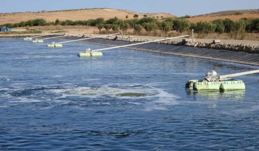 OxyStar Aerators in municipal aerated lagoon in Morocco