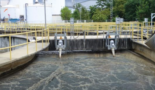 OxyStar Aerators in an activated sludge tank of an industrial WWTP